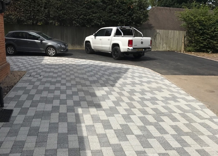 Grey block paving for extended parking space in Iver, Buckinghamshire