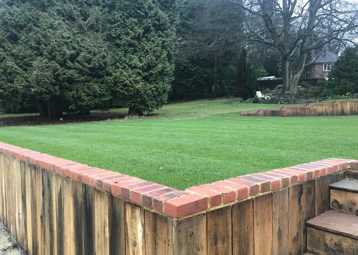 180 metre retaining wall and landscape  						project in Reigate, Surrey